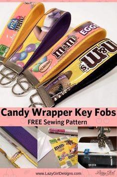 Go ahead and eat the candy! Then make these quick and easy candy wrapper craft key fobs. Laminate the candy wrappers with iron-on vinyl. Great for quick gifts. Add to backpack or purse, hold spare keys. Bag Sewing Pattern, Sewing Patterns Free, Free Sewing, Diy Jewelry Tutorials, Diy Jewelry Making, Sewing Tutorials, Video Tutorials, Lazy Girl Designs, Diy Jewelry Inspiration