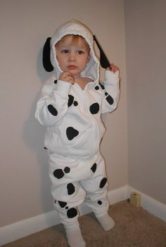 DIY Dalmatian costume made with hooded sweatshirt