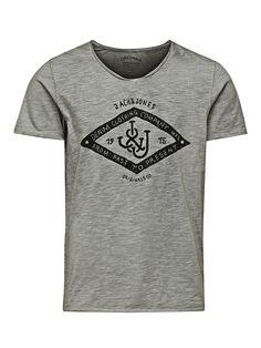 ORIGINALS by JACK & JONES - T-Shirt von ORIGINALS - Slim fit - V-Ausschnitt - Print auf der Vorderpartie - Rollsaum - Überfärbt 100% Baumwolle...