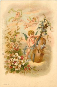 angel playing violin, two above, flowers lower left