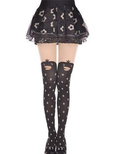 364b9378966 Kawaii Sexy Girl s Pantyhose Tights Pattern Printed Tattoo Stockings Cat  shape Sheer Mock