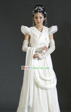 TV Drama Chinese Paladin Wedding Dress and Hair Accessories Complete Set Hanfu, Cheongsam, Chinese Gown, Chinese Kimono, Chinese Dresses, Traditional Fashion, Traditional Dresses, Fairytale Gown, Chinese Clothing