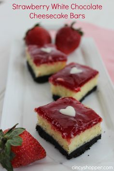 Strawberry White Chocolate Cheesecake Bars- These will be perfect for Valentine's Day!