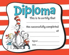 Dr. Seuss Cat In The Hat Diploma-Large Certificates, Reward students when they complete a program or the entire school year. Perfect for your Read Across America program!