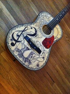 The guitar I zentangled for my Dad. Music, guitar, zentangle, art, doodle, pen and ink, lineweaving