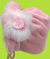 Pink Fleece Baby  Bonnet with Rose and Marabou