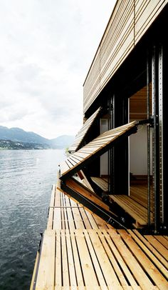 Doors fold down into a dock. Boat's House at Millstätter Lake / MHM architect… – Lisa Hanifah Doors fold down into a dock. Boat's House at Millstätter Lake / MHM architect… Doors fold down into a dock. Boat's House at Millstätter Lake / MHM architects Architecture Design, Amazing Architecture, Organic Architecture, Amazing Buildings, Kinetic Architecture, Architecture Interiors, Residential Architecture, Contemporary Architecture, Exterior Design