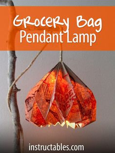 Easy DIY Pendant Light with Beautiful Origami Lampshade : 3 easy steps to make a beautiful DIY pendant light with a stylish origami DIY lampshade from up-cycled paper grocery bag, and creative hanging lamp support structures. - A Piece of Rainbow Diy Simple, Easy Diy, Origami Lampshade, Paper Grocery Bags, Diy Pendant Light, Pendant Lamps, Pendant Jewelry, Good Tutorials, Mason Jar Lighting