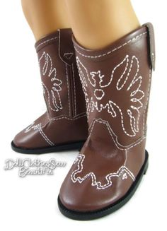 Brown-Cowboy-Boots-for-18-American-Girl-Doll-Clothes-Accessory-Eagle-Stitching