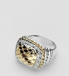 "Ring in 14K Gold ""Quilted"" ring with 18 cts Diamonds in Sterling Silver band. #VahanPinterest"