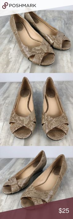 "Cole Haan Wedge Open Toe Sandals Women's Preowned Cole Haan Wedge Sandals Size 8 B Tan & Beige Snake print Style number D31618 1"" Heel Some signs of being worn on the toes and the heels - see photos Nonsmoking home Cole Haan Shoes Wedges"