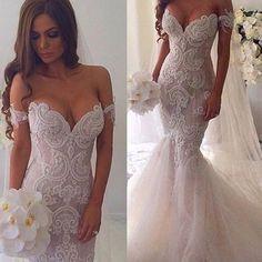 New Vintage Mermaid Off The Shoulder Formal Lace Charming Wedding Dresses. AB0220 #elegantweddings