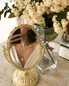 , Reflects our vintage gold jewelry - reflection of our vintage-inspired . , Reflect our vintage gold jewelry - reflection of our vintage-inspired jewelry in our golden vintage mirror.