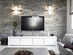 Modern Living Room Interior Design Ideas With Stone Wall Decor Living Room Interior, Home Interior, Home Living Room, Interior Design Living Room, Stone Wall Living Room, Living Room Tv Unit Designs, Home Deco, Family Room, House Design