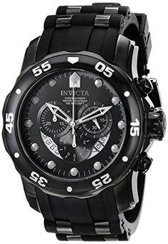 Invicta Men's 6986 Pro Diver Collection Chronograph Black Dial Black Polyurethane Watch Invicta