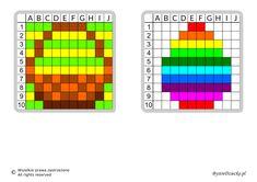 Dyktanda graficzne, nauka kodowania i programowanie dla dzieci - karty pracy do wydruku na Wielkanoc Hama Beads Patterns, Beading Patterns, Pattern Art, Perler Beads, Pixel Art, Cross Stitch, Coding, Cross Stitch Pictures, Retro Fashion