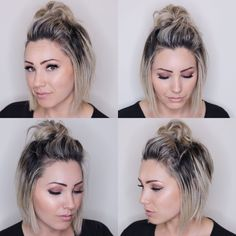 top knot for short hair. short hairstyle. soft bob haircut