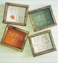 Rae Dunn Inspired Fall and Thanksgiving wooden framed signs. Hello Fall Pumpkin Spice Autumn Leaves Harvest Blessed Gather Give Thanks Fall Signs, Fall Wood Signs, Wooden Signs, Fall Decor Signs, Fall Pallet Signs, Fall Projects, Vinyl Projects, Happy Fall Y'all, Hello Autumn