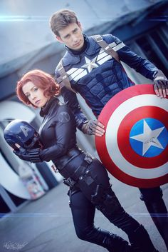 Me and Kameron's halloween costumes! Black widow and captain America superhero marvel avengers