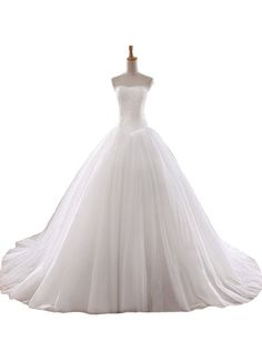 Albizia Womens A-line Strapless Lace Tulle Cathedral Prom Dress Gown Wedding Dresses * To view further, visit now : Wedding Dresses