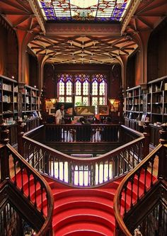 Livraria Lello book store in Porto - a great place to browse and buy books, and an art nouveau architectural masterpiece. Photos allowed only between 9-10am Rua das Carmelitas, 144, Porto, 4050 161 Closed Sundays