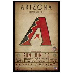 Arizona Diamondbacks Adult 12'' x 18'' Classic Ticket Wall Decor