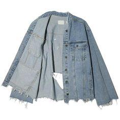 Slashed Denim Jacket (€68) ❤ liked on Polyvore featuring outerwear, jackets, blue denim jacket, blue jackets, jean jacket, distressed denim jackets and denim jacket
