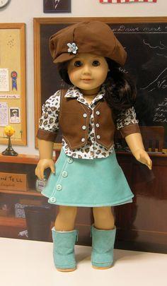 Animal Charisma- Skirt Set for American Girl with newsboy hat