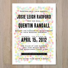 fun confetti invitation