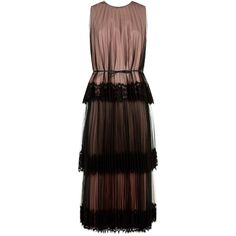 Christopher Kane Tulle Tiered Midi Dress (€1.775) ❤ liked on Polyvore featuring dresses, overlay dress, lace trim dress, jacquier tiered-tulle dress, pleated midi dress and brown midi dress