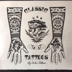 Search inspiration for an Old School tattoo. Tattoo P, Full Tattoo, Mandala Tattoo, Black Ink Tattoos, Black And Grey Tattoos, Forearm Tattoos, Body Art Tattoos, Xoil Tattoos, Blackwork
