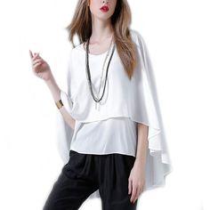 42de2682643b Womens Batwing Layered Chiffon Top in White