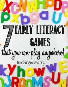 """EARLY LITERACY TIP: Play games with your children! Here's a few literacy-related games that are well-suited for little ones to play. """"For this game, I say a letter of the alphabet and ask my kids what letter comes next. It's such a simple game, but it really helps my kid with knowing the order of the alphabet."""""""
