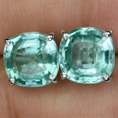 8.68 CT. MATCH PAIR GREENISH PARAIBA TOURMALINE STERLING SILVER 925 EARRINGS