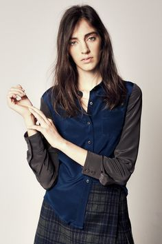 Babe-FW13 - Esther Blouse in Navy & Grey Silk Crepe