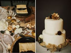 This black and gold #wedding cake is stunning! From http://greenweddingshoes.com/black-gold-wedding-inspiration/  Photo Credit:  http://loveisabigdeal.com/