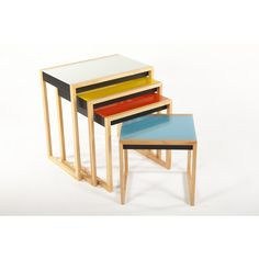 Mid-Century Modern Reproduction Bauhaus Nesting Tables Inspired by Josef Albers