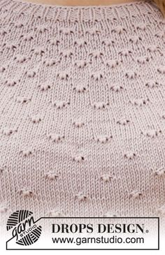 The piece is worked top down with round yoke, knotted pattern and ¾-length sleeves. Baby Knitting Patterns, Knitting Charts, Knitting Stitches, Stitch Patterns, Scarf Patterns, Drops Design, Finger Knitting, Easy Knitting, Hand Crochet