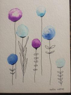 Watercolor Beginner, Watercolor Paintings For Beginners, Watercolor Projects, Easy Watercolor, Watercolor Cards, Abstract Watercolor, Watercolor Illustration, Happy Paintings, Flower Doodles