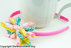 Picnic Days Hair Bow Headband Curly Korker Hair by SheWearsitWell, $9.99
