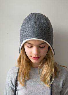DIY: wool + cotton sewn ear flap hat