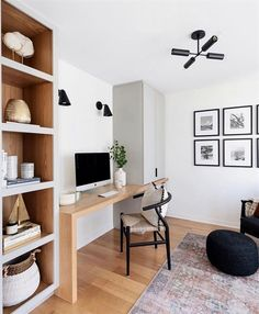 Office Nook, Home Office Space, Home Office Decor, Home Decor, Office Ideas, Modern Office Decor, Home Office Lighting, Office In Bedroom Ideas, Office With Couch