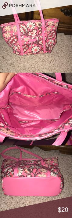 Pink design Vera Bradley Like new, pink, paisley flower design Vera Bradley bag; minor fray on side of bag (pictured), smoke free home Vera Bradley Bags Totes