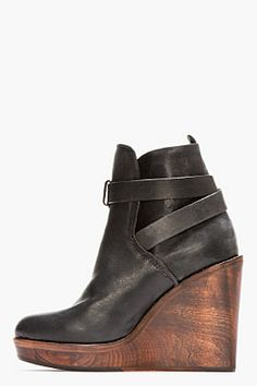 RAG & BONE Black Leather Emery Wooden Wedge Boots