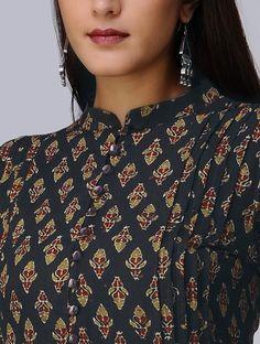 Taupe-Madder Ajrakh Cotton Kurta with Applique by Jaypore Kalamkari Kurta, Kalamkari Dresses, Kurta Designs Women, Salwar Designs, Dress Neck Designs, Blouse Designs, Embroidery Suits Design, Embroidery Patterns, Hand Embroidery
