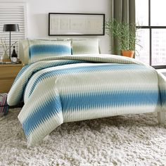 #CityScene Calista Reversible Duvet Set. #Bed #bedroom #BeddingStyle #modern #blue #khaki