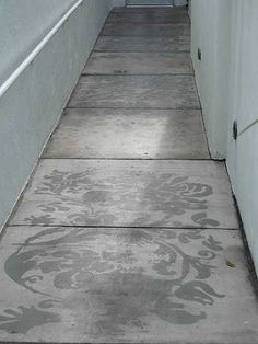 Inspiration: Stencil pattern on cement. Monochromatic greys.
