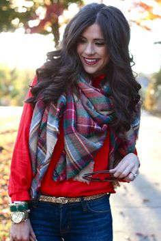 Plaid oversized scarf, gold glitter belt...this outfit is Fall and Winter perfection