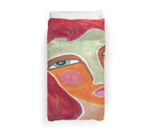 Red on a Starry Night Duvet Cover