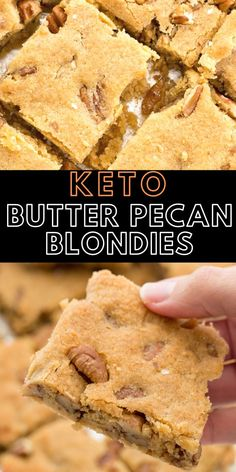 These Keto Butter Pecan Blondies are loaded with rich butter, vanilla and pecans! This is the perfect low carb dessert at about net carbs per slice! Dessert Parfait, Bon Dessert, Keto Dessert Easy, Dessert Recipes, Diet Desserts, Breakfast Recipes, Healthy Low Carb Recipes, Ketogenic Recipes, Low Carb Keto
